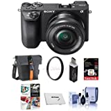 Sony Alpha A6500 Mirrorless Camera with 16-50mm f/3.5-5.6 OSS Zoom Lens - Bundle With 16GB SDHC Card, Holster Case, Memory Wallet, 40.5mm UV Filter, Cleaning Kit, Card Reader, Software Package