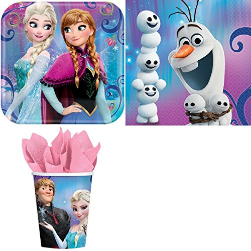 Celebrations Day Frozen Magic Birthday Party Supplies Bundle Pack for 16 Guests -