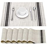 YOSICHY Placemats Set of 6 Crossweave Woven Vinyl Placemat for Dining Table Heat Resistant Non-Slip Kitchen Table Mats Washable(Grey)
