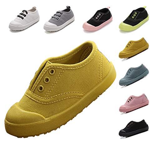 (Kikiz Candy Color Kids Little Canvas Sneaker Boys Girls Casual Shoes Yellow 11 M US Little)
