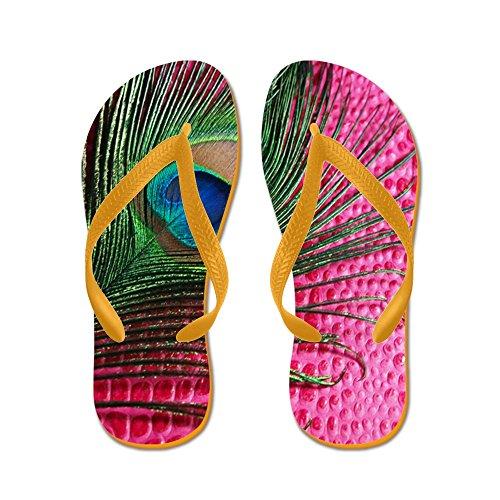 CafePress Hot Pink Peacock Feather - Flip Flops, Funny Thong Sandals, Beach Sandals Orange
