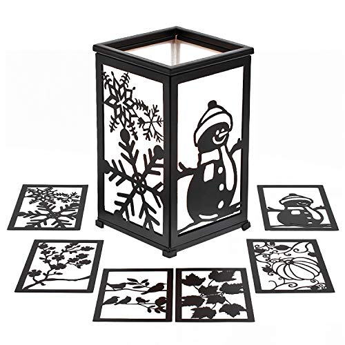 GiveU Decorative Led Candle Lantern with Timer Rustic Candle Lantern with Twelve Magnetic Seasonal Themed Panels ,5 x 5 x...