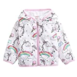 Aulase Toddler Girls Summer Jacket Cartoon Unicorn Hooded Windbreaker Outwear Unicorn 4-5Y/Tag 120cm