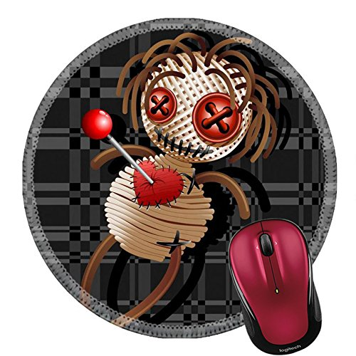 Liili Round Mouse Pad Natural Rubber Mousepad Image ID: 23107058 Voodoo Doll Death Cartoon on Grey Squares -