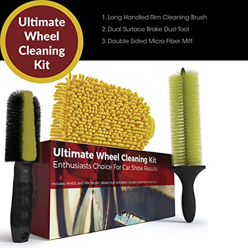 - Ultimate Wheel Brush Set and Cleaning Kit - Includes Long Reach Rim and Wheel Cleaner Brush, Brake Dust Tire Scrubber and Microfiber Wash Mitt - Perfect For Auto Detailing