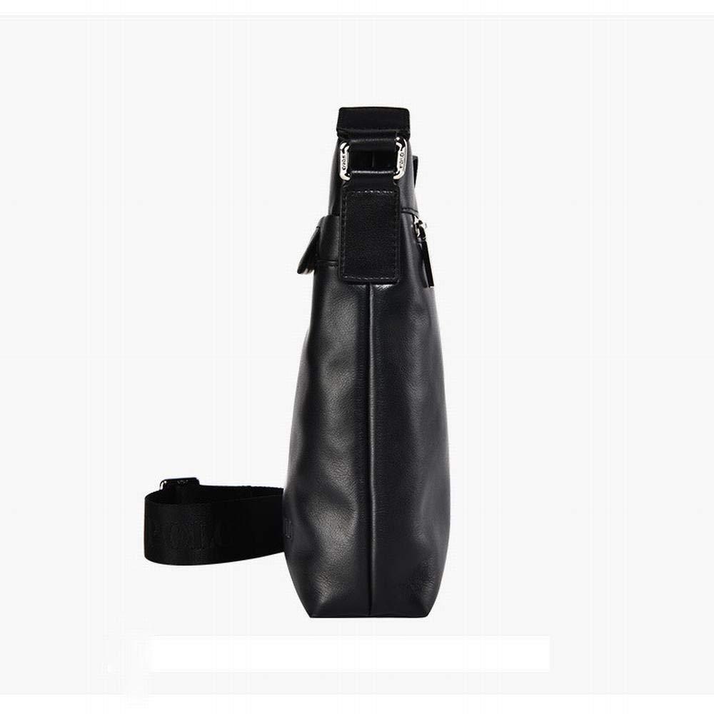 Lokijuge Mens Single Shoulder Mens Bag Messenger Bag Official Business Mens PU Bag Color : Black