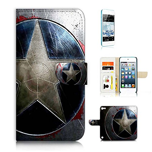 ( For ipod 5, itouch 5, touch 5 ) Flip Wallet Case Cover & Screen Protector Bundle! A20427 Captain America