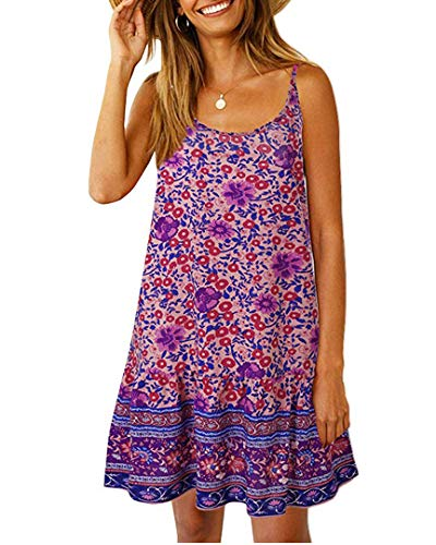 Womens Boho Floral Printed Dress Summer Cami Sleeveless Adjustable Strap Beach Mini Dress with Pockets (XL, Purple)