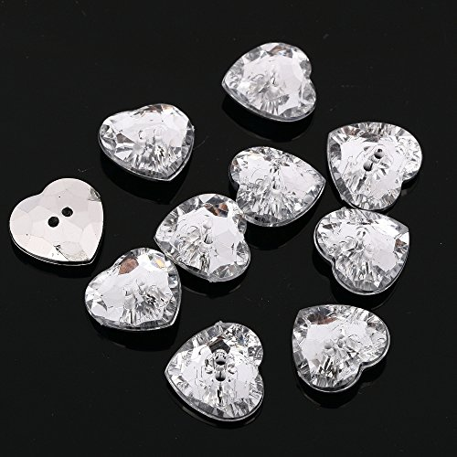 CraftbuddyUS AB5 23mmx20pcs Sew on Diamante Heart Buttons Sparkle Acrylic Crystal Rhinestone