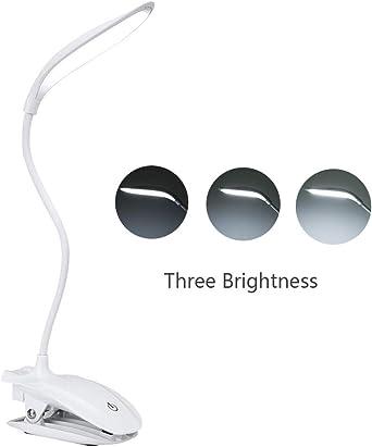 Lampara Escritorio 5W, Blusea Lampara Lectura Pinza 16 LEDs Flexo ...