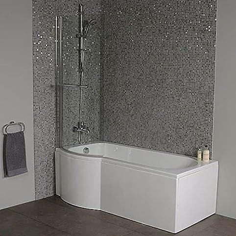 Shower Bath Tub P Shape Acrylic White 1700 Left Hand Bathtub Includes Front Panel With
