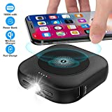 Wireless Portable Charger(USB-C Input),10000mAh 3-Port Power Bank USB-C,Pocket-Sized Type-C External Battery Pack Fast Charger with Emergency LED Flashlight Compatible with iPhone,Samsung