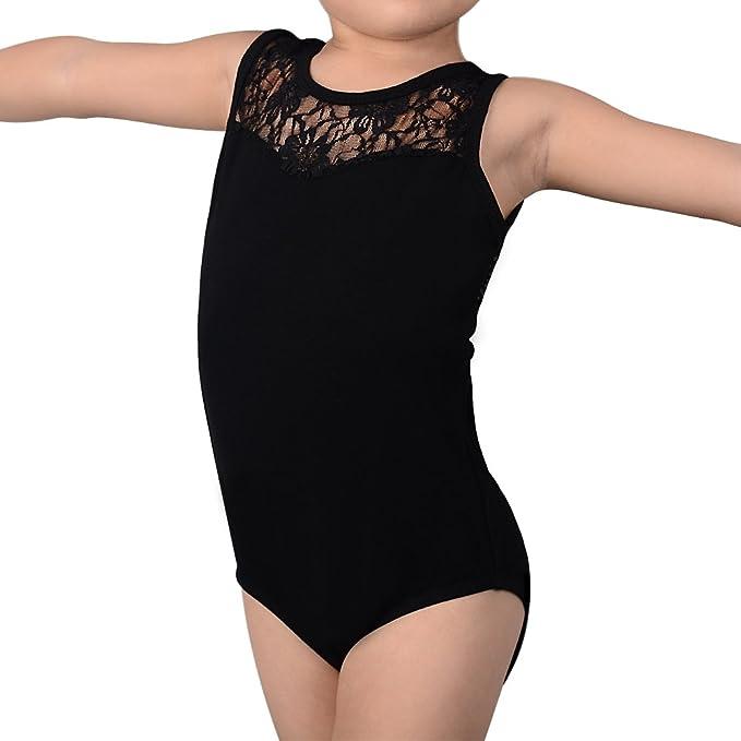 973289ee7076 Amazon.com: Girls Lace Ballet Leotard - Nelipo Sleeveless Gymnastics Tops  Costumes (110/4-5 Years, Black): Clothing