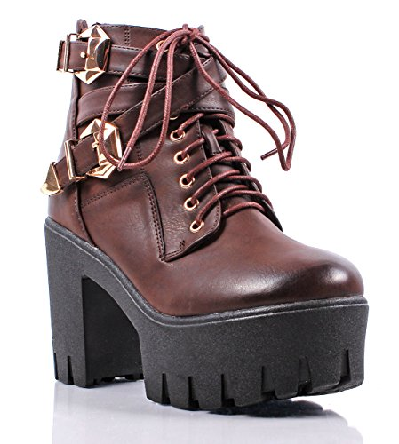 Sexy 2 Tone Combat Military Lace up Back Zipper Open Buckle High Heels Platform Women Boots New Without Box (8, - Sexy Buckle