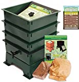 Worm Factory DS3GT 3-Tray Worm Composting Bin + Bonus ''What Can Red Wigglers Eat?'' Infographic Refrigerator Magnet - Vermicomposting Container System - Live Worm Farm Starter Kit for Kids & Adults