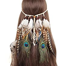 QtGirl Indian Feather Headband Tassel Hemp Rope Bohemian Hairband for Women Girls Festival Headdress