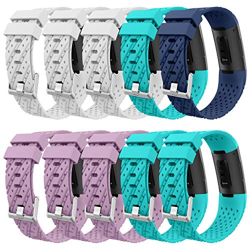 Greeninsync Sports Band Compatible Fitbit Charge 3, Replacement for Fitbit Charge 3 SE Accessory Band Adjustable Bracelet Strap Large for Fitbit Charge3 Wristbands W/Metal Buckle Girls ()