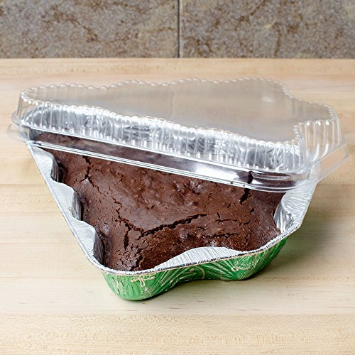 Durable Packaging Disposable Aluminum Foil Christmas Tree Pan with Dome Lid, 11-13/32'' x 9-1/8'' x 1-1/2'' (Pack of 50) by Durable Packaging (Image #1)