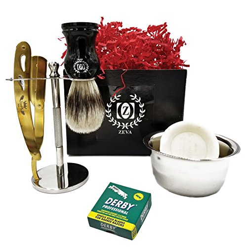 Men Shaving Shavette Set Beautiful Gift ZEVA Cut Throat Razor Shave Brush Stand holder Soap lather 100 Derby Single Blades