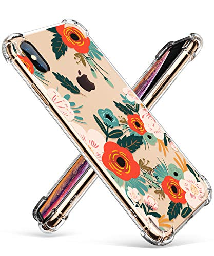 (GVIEWIN Clear Flower iPhone XS Max Case, Pattern Design Soft & Flexible TPU Ultra-Thin Shockproof Transparent Women Floral Cover, Cases for 6.5 Inch 2018 (Flowering/Reseda Green))