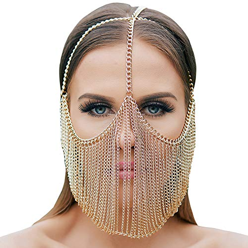 CCbodily Masquerade Mask Ball for Women - Venetian Mardi Gras Halloween Masquerade Metal Rhinestone Mask Face Chain Jewelry for Women Couples (Gold-06) -