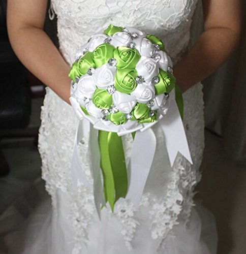 Advanced Customization High Quality Romantic Handmade Bride Holding Flower, Western Style Elegant Wedding Bouquet,simple and Elegant of the Appearance,a Variety of Styles for You to Choose (green and white)
