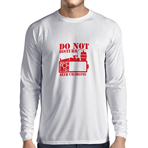 lepni.me N4222L Long Sleeve t Shirt Men Beer Charging (XX-Large White Red)