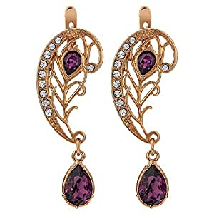 Jenavi Women's Gold Plated Drop and Dangle Earring - Gold and Purple