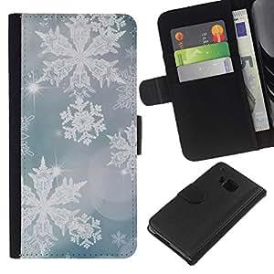 KLONGSHOP // Tirón de la caja Cartera de cuero con ranuras para tarjetas - seguir manteniendo verde azul de motivación - HTC One M9 //