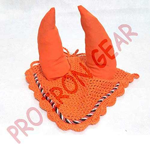 Fly Veil - Horse Ear Bonnet/Net/Hat/Hood/Mask Fly Veil Full/Cob (Orange, COB)