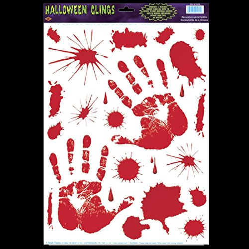 Gothic Horror Prop Dexter Psycho BLOODY HAND PRINTS CLINGS Halloween Decorations -