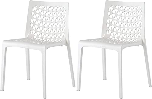 Lagoon Milan White Stackable Patio Dining Chair – 2 Pcs Set