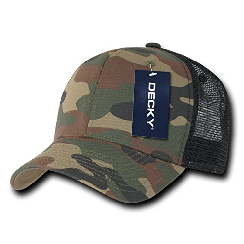 DECKY Camo Curved Bill Rear Mesh Trucker Snapback Cap_WDL/WDL/Black_One - Monday Snapback Cyber Deals