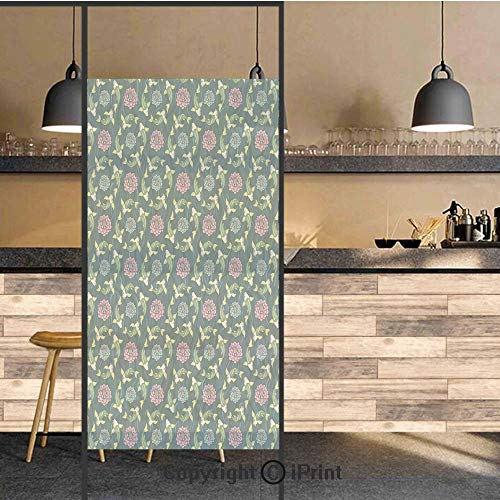 - 3D Decorative Privacy Window Films,Asian Traditional Carp Koi Lily Pattern Japanese Traditional Motifs Marine Decorative,No-Glue Self Static Cling Glass film for Home Bedroom Bathroom Kitchen Office 1