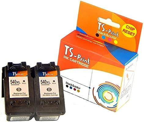 TS-Print Cartuchos de Tinta 2X PG-540XL Negro Canon Impresora Pixma TS5140 TS5150 TS5051 MX375 MX395 MX435 MX455 MX475 MX525 MX535 MG2150 MG2250 ...