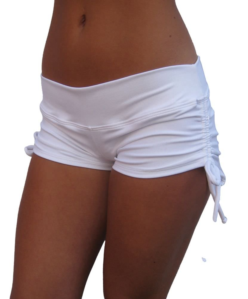 Delicate Illusions High End Buttery Soft Luxury Lycra Scrunch Butt Gym Yoga Pole Fitness Shorts for Women M (7-9) White