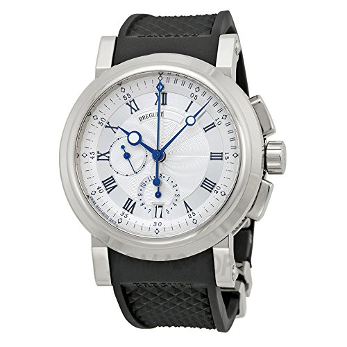 Breguet Marine Silver Dial Black Rubber 18kt White Gold Mens Watch (Breguet Marine)