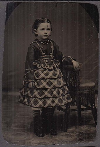 (Standing young girl patchwork tiered dress studio tintype 1860s)