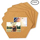 Creative 3D Hexagon Small Cork Self-Adhesive Sticker Board Tiles,Pin Board-Decoration for Pictures,Photos,Notes,Goals,Drawing,Painting,5 Pack 11.8''x13.4''- 1/4'' Thick
