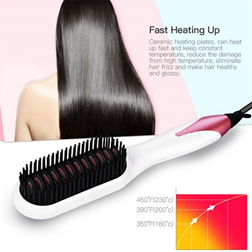 Hair Straightener Brush, inkint Ceramic Hair Straightening Brushes for Women with LED Temperature Display Anti-scald Auto-off Function for All Hair Types and Length by inkint (Image #2)