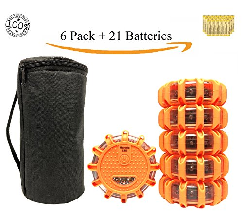 6 Pack LED Safety Flare - LED Road Flares , Roadside Emergency Kit, Emergency Car Kit, Emergency Beacon w/ Magnetic Base for Car Truck Boat w/ Batteries, Carry-Case, and Extra Battery Set