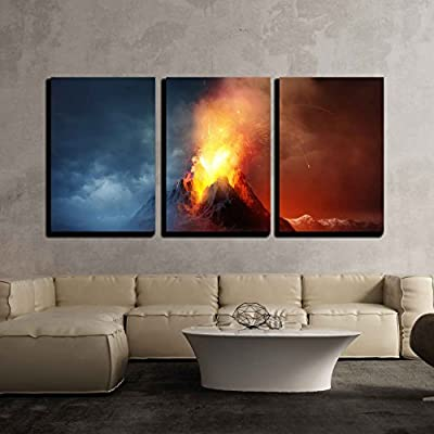3 Piece Canvas Wall Art - Volcano Eruption. a Large Volcano Erupting Hot Lava and Gases into The Atmosphere - Modern Home Art Stretched and Framed Ready to Hang - 16