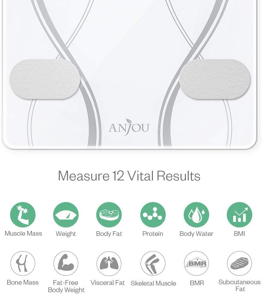BMR Gewicht YOUNGDO Bluetooth Personenwaage mit APP Neue Version Smart Digitale Waage mit USB Aufladen//23 Daten in der  Cloud Gespeichert wie K/örperfett K/örperfettwaage Wasser BMI usw