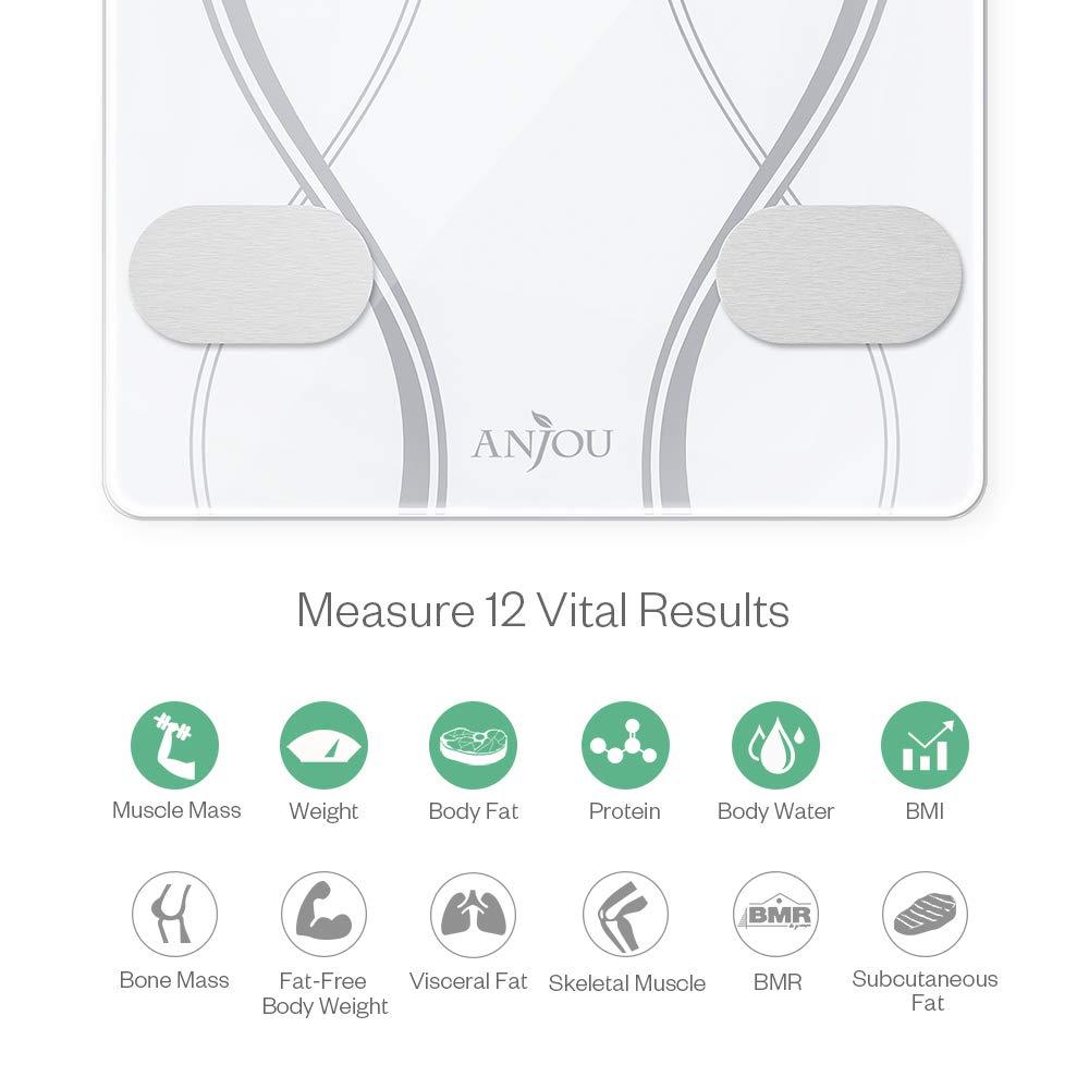 Báscula de grasa corporal, Anjou Bluetooth Báscula Báscula Digital Peso con iOS y Android App para peso corporal/grasa/agua/BMI/Bmr/Masa muscular: ...