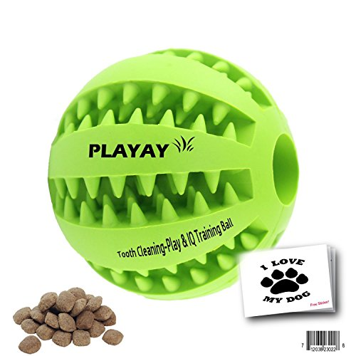 IQ Treat Ball [Chew Toy] FOR DOGS & CATS [Dental Treat][Bite Resistant] Durable Non Toxic- BPA FREE-Strong Tooth Cleaning for Pet Training/Playing/Chewing, [Enhace your Pets Playing Experience Now!]