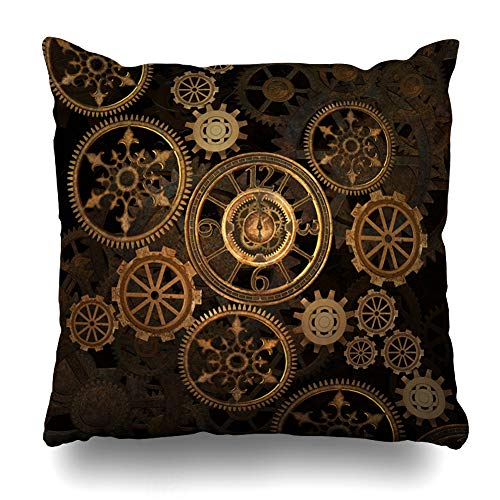 (Ahawoso Throw Pillow Covers Cases Steampunk Steam Punk Gears Abstract Clock Fantasy Gold Technology Time Home Decor Cushion Square Size 16
