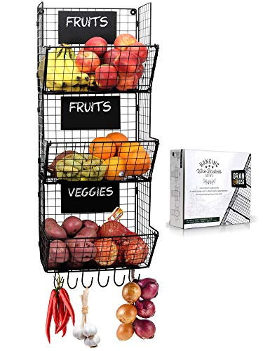 Stylish Kitchen Hanging Fruit And Vegetable Storage Baskets with Chalkboards - Perfect for Your Potatoes and Onions - Amazing Wire Wall Mount Produce Baskets Save Space while Enhancing your Home