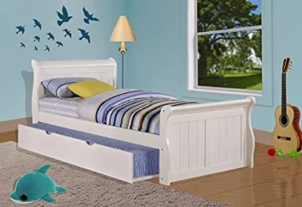 Amazoncom Donco Kids Twin Sleigh Bed With Twin Trundle Bed In