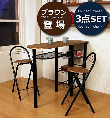 SLIMS カウンターテーブル 3点セット カウンター チェア セット 送料無料 (ブラウン) B06XSCQLCN  ブラウン