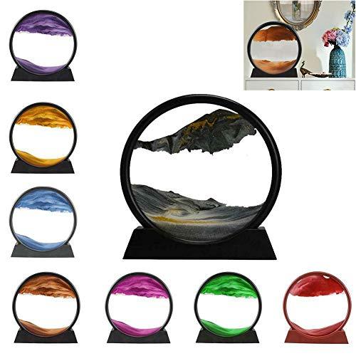 Image de Sable en Mouvement, Peinture de Sable Qui coule 3D sablier de Cadre de Sable en Verre Rond, pour la décoration…